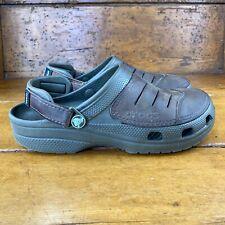 Crocs Yukon Slip On Shoes Leather Upper Straps Brown Men's Size 7 Women Size 9