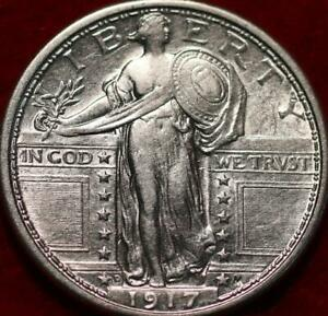 Uncirculated 1917-D Type l Denver Mint Silver Standing Liberty Quarter