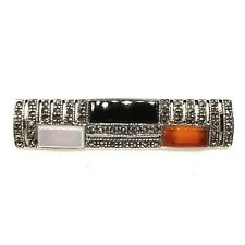 3-STONES PIN: CARNELIAN ONYX MOTHER-OF-PEARL PIN Marcasite .925 STERLING SILVER
