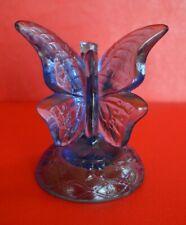 Fenton Art Glass Blue Ring Holder Butterfly Figurine