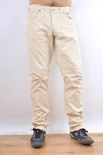 Jeckerson Jeans Beige Made in Italy Regular Cotton Straight leg Stretch Fit W33