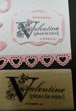 Stampin Up rubber stamp VALENTINE PLEASE BE MINE caption tag w Floral accent