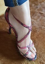 Nina New York Snake Print Watermelon Pink Red Sandals Heels size 6.5 EUC Leather