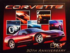Corvette Chevy 50th Anniversary TIN SIGN Metal Wall Decor Vintage Garage