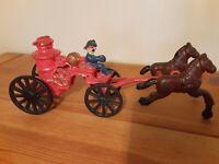 "Vintage 9"" Cast Iron Horse Drawn Fire Truck Pumper Wagon Fireman Antique Toy Old"