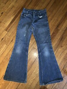 "Vintage 1960/70s Bell Bottom Orange Tab Levis Jeans  28""W x 29"" L"