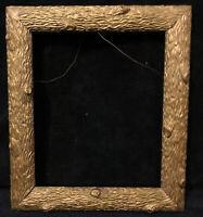 Antique Arts & Crafts Gilded Wood Frame Tree Bark Gesso Gold Gilt Aesthetic