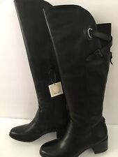 Anne Klein Junip Leather Knee-High Riding Boots Wide Calf Black Size 6.5 M $180