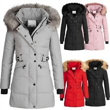 Damen Winter Jacke Mantel Parka Wintermantel Steppmantel Kunstfellkragen D-435