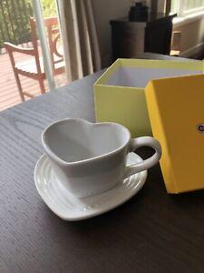 Rare Le Creuset White Heart Mug And Saucer Tray Set NIB Brand New