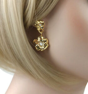 """Gold Tone Pansy Flower Drop Dangle Pierced Earrings 1 1/2"""""""