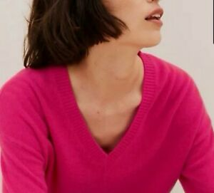 M&S Collection Cashmere Rasberry Pink V-Neck Jumper Size 16 Worn Once RRP £79