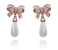 Beautiful Stylish Gold & Cream White Pearl Bow Drop Dangle Earrings Bridal E686