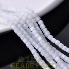 100pcs 3mm Cube Square Faceted Crystal Glass Loose Spacer Beads Opaque White
