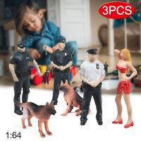 1/64 US Police Figure Scene Model Set w/ Female 'Suspect' Police 2 Dogs Canine