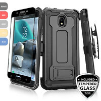 For Samsung Galaxy J3 Orbit/Star/V 2018 Rugged Case Holster+Black Tempered Glass