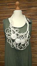 * Zuza Bart * Diseño Lino Increíble Hermoso Collar Bufanda De Cuello Con Apliques * Blanco *