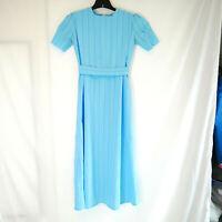 Blue Striped Mennonite Amish Modesty Cape Dress 34 Bust / 26 Waist Handmade
