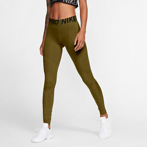 Nike Pro Leggings Women's Olive Sportswear Activewear Athletic Pants