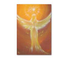 """Engelposter """"Das Herz weiß es"""" Wandposter mit Engel und Herz - Gelb, Braun, Gold"""