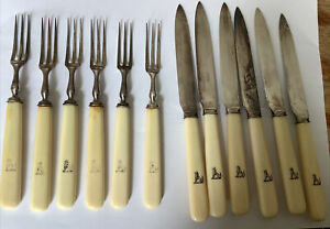 6 Mappin & Webb Princes Plate Fruit Knives & Forks Rd No 71552