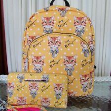 Betsey Johnson Yellow French Bulldog Dog Logo Faux Leather Backpack Bag
