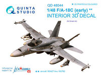 Quinta QD48044 1/48 F/A-18C (early)3D-Printed&coloured interior for(kinetic kit)