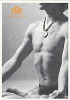 Handsome young nude muscular man yoga tattoo jock Russian advert postcard gay