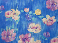 Quilting Fabric Streaked Flower Design Blue Background 100% Cotton Fat Quarter