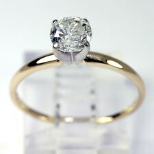 Diamante de compromiso anillo solitario 14K oro amarillo brillante redondo .97CT