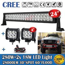 "24INCH 280W+2X 4"" 18W LED WORK LIGHT BAR SPOT FLOOD FOR JEEP ATV 4X4WD FORD F250"