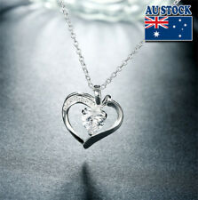 Wholesale 925 Sterling Silver Filled Zircon Crystal Love Heart Pendant Necklace