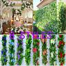 2PC 8Ft Artificial Rose Garland Silk Flower Vine Ivy Garden Wedding String Decor