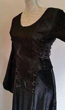 Goth style médiéval haut noir-taille uk 12