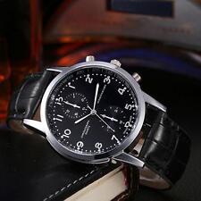 Luxury Men's Stainless Steel Leather Analog Quartz Business Sports Wrist Watches