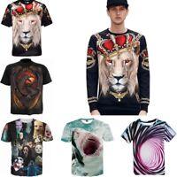 New Men's 3D Print Short Sleeve Tops Casual Cotton T-Shirt Graphic Tee Shirts
