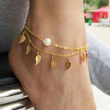 Ladies Boho Anklet Vogue Fringed Layered Leaves Imitation Pearl Anklet Gift D