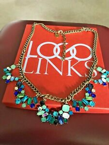 LOGO LINKS by Lori Goldstein 'Legacy Mixed Stone' Bib Necklace Antique GT New