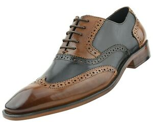 Asher Green Mens Genuine Leather Perforated Wingtip Oxfords Lace Up Dress Shoes