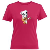 Juniors Girl Women Tee T-Shirt  Animal Crossing K.K. Slider Guitar Musician Dog