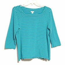 Chico's Striped Top Pima Cotton Stretch 3/4 Sleeve