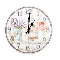 1X(Floral Vintage Shabby Chic Style 34cm Wall Clock Home Bedroom Kitchen Qu G3A8