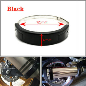 Universal Motorcycle Oval Exhaust Protector Can Cover Black 100mm-140mm Steel 1x