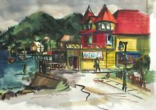ANTIQUES ORIGINAL WATERCOLOR SMALL TOWN MARKET PAINTING