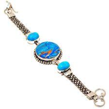 "Moon Face Rainbow Calsilica, Santa Rosa Turquoise .925 Silver Bracelet 7-8"""