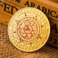Gold Plated Mayan Aztec Prophecy Calendar Commemorative Coin Collection Gift KK