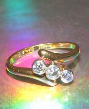 Splendido seconhand 18ct Oro Giallo Diamante trilogia Anello Taglia J1/2