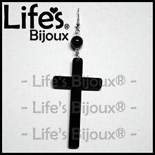 Orecchino Ciondolo Croce Crocifisso Gesu Donna Plexiglass Pendente Nero 6 cm