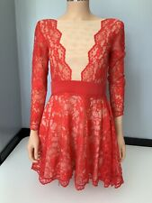 philip armstrong dress Red Lace Skater Dress Uk 10 Long Sleeved