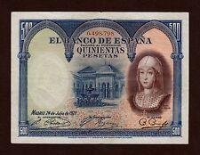 F.C. NUMERO BAJO 500 PESETAS 1927 , SELLO SECO DE LA REPUBLICA EN LATERAL .